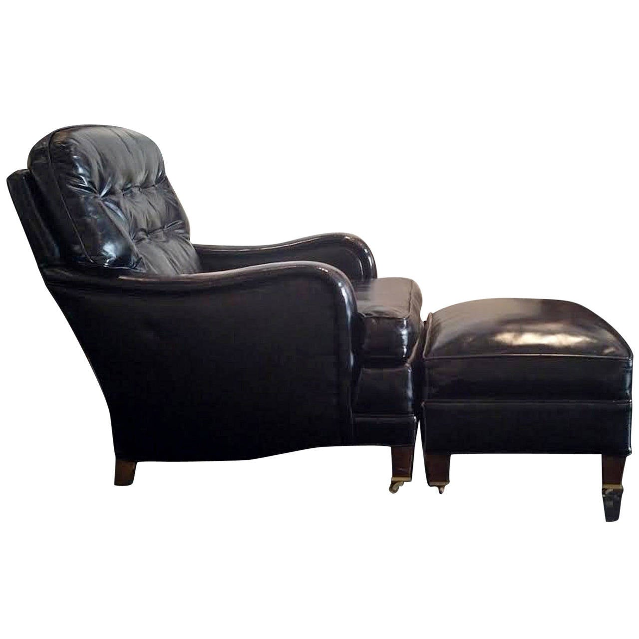 american art deco leather club chair and ottoman at 1stdibs