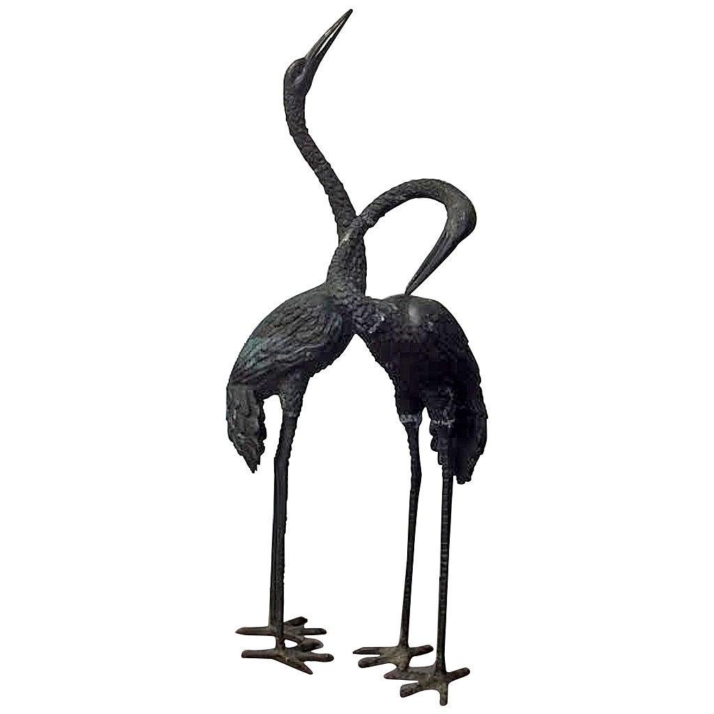 pair of lifesize art deco brass cranes at 1stdibs. Black Bedroom Furniture Sets. Home Design Ideas