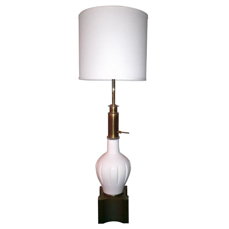 Vintage White Ceramic and Brass Table Lamp by Stiffel