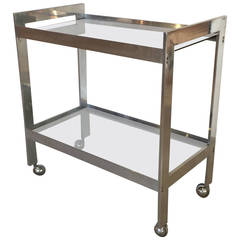 1970s Chrome and Smoked Glass Bar Cart