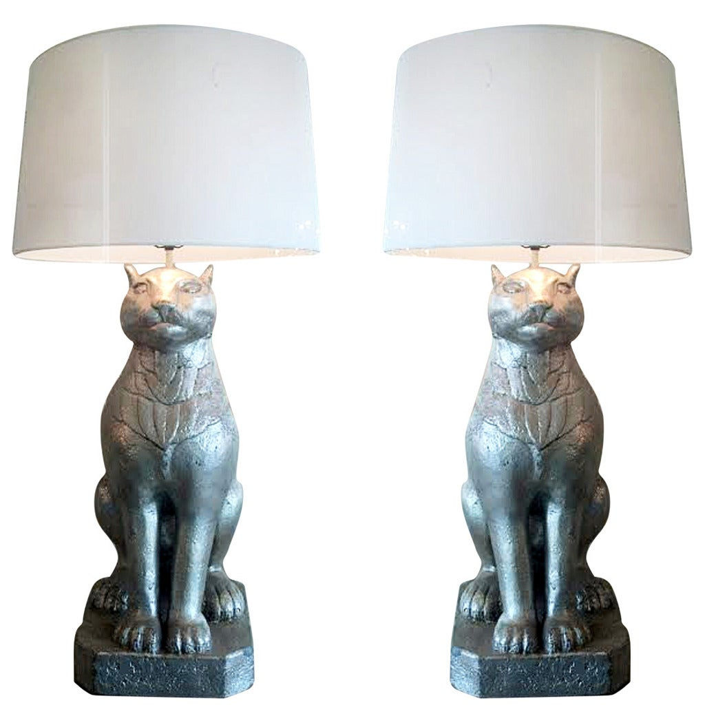 Art deco silver and stacked crystal ball floor lamp at 1stdibs - Monumental Pair Of Art Deco Cat Form Lamps 1