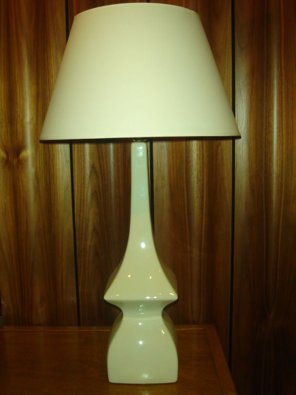Modernist white ceramic lamp in the style of james mont at for Chair table lamp yonge st