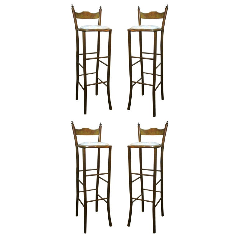 Set Of 4 French Bar Stools With Tufted White Leather Seats