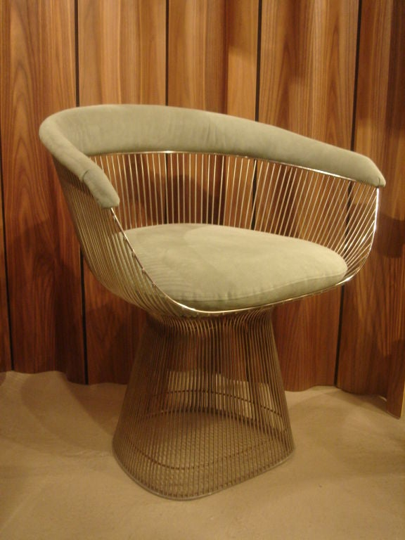Set of up to four (4) vintage small armchairs in brushed nickel finish designed by Warren Platner for Knoll. USA, dated 1980. <br /> <br /> Retains the early Knoll International label.<br /> <br /> Metal frames are in very good original