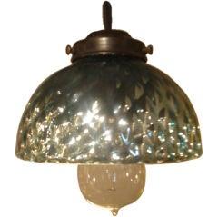 Set of Antique Blue Mercury Glass Pendant Lights