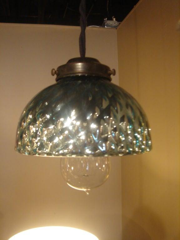 Set Of Antique Blue Mercury Glass Pendant Lights At 1stdibs