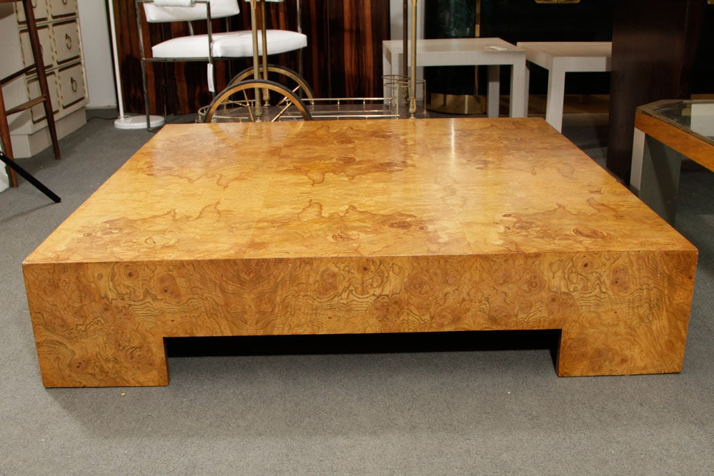 Parsons Style Square Burl Wood Coffee Table By Milo Baughman 3