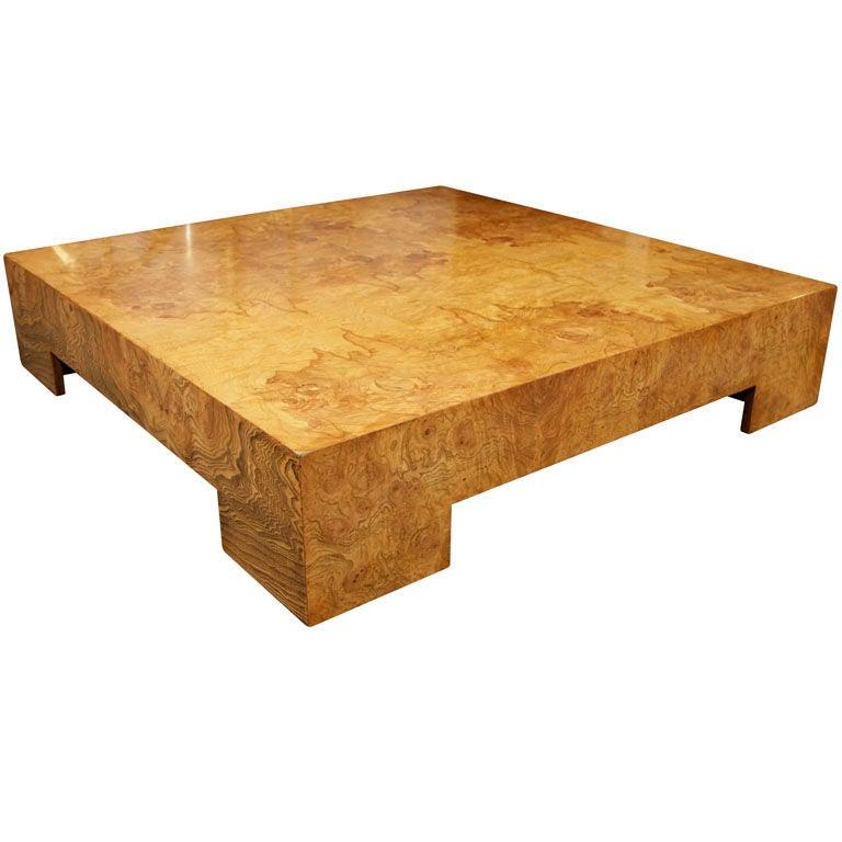 Vintage Burl Wood Slab Coffee Table At 1stdibs: Parsons Style Square Burl Wood Coffee Table By Milo