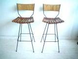Pair of Iron & Wood Slat Stools by Arthur Umanoff for Raymor