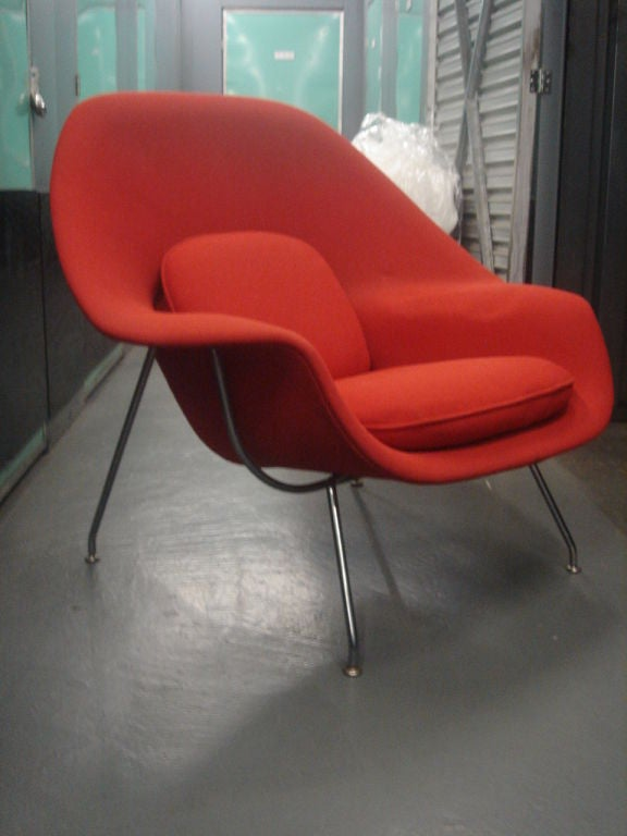 Vintage Womb Chair & Ottoman by Saarinen for Knoll in Red Fabric 5