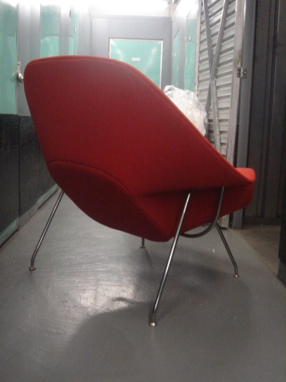 Vintage Womb Chair & Ottoman by Saarinen for Knoll in Red Fabric 6