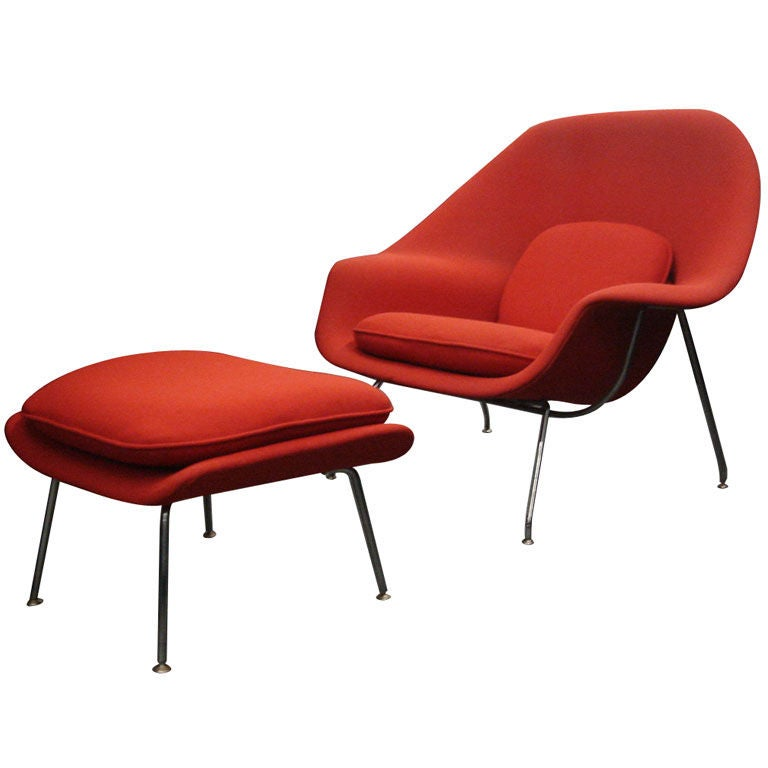 Vintage Womb Chair & Ottoman by Saarinen for Knoll in Red Fabric 1