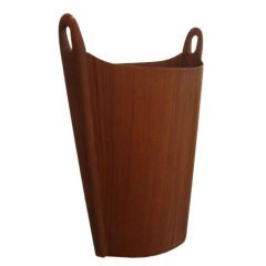 Teak Wastebasket with Carved Handles By P.S. Heggen