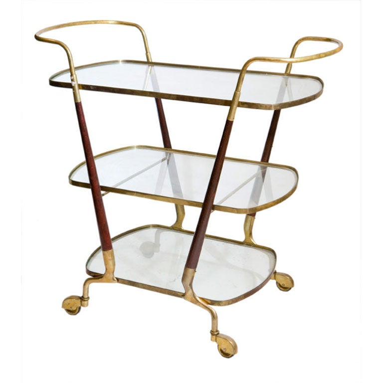 Mahogany Bronze And Glass Bar Cart In The Style Of Ico