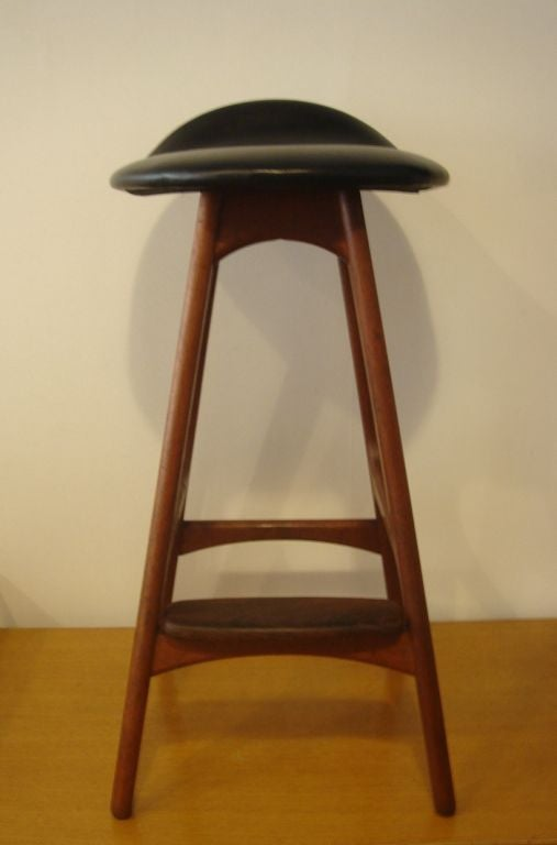 Wood And Black Leather Counter Bar Stool By Erik Buck At