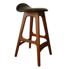 Wood And Black Leather Bar Stools By Erik Buck At 1stdibs