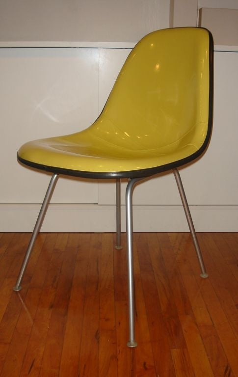 set of eames shell chairs with h base by herman miller in