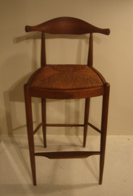 Cow Horn Teak Bar Stool Attributed To Hans Wegner At 1stdibs