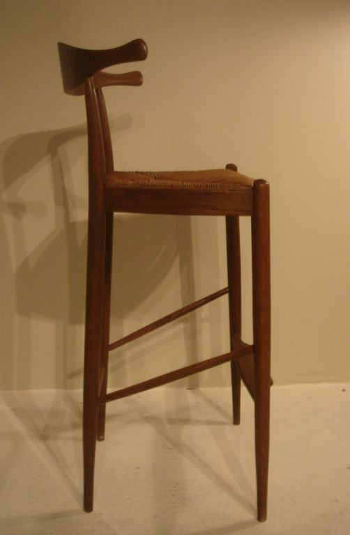 cow horn teak bar stool attributed to hans wegner at 1stdibs. Black Bedroom Furniture Sets. Home Design Ideas