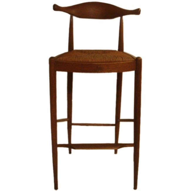 cow horn teak bar stool attributed to hans wegner at 1stdibs. Black Bedroom Furniture Sets. Home Design Ideas