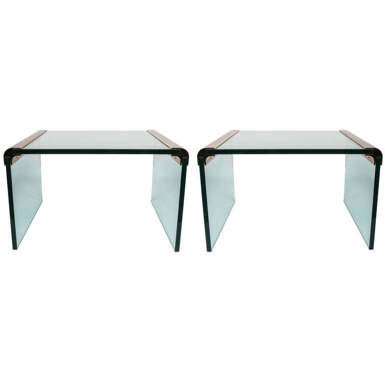 Glass & Brass End Table by Pace International (2 available; priced individually)