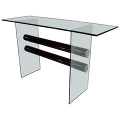 Pace Collection Glass and Steel Console Table