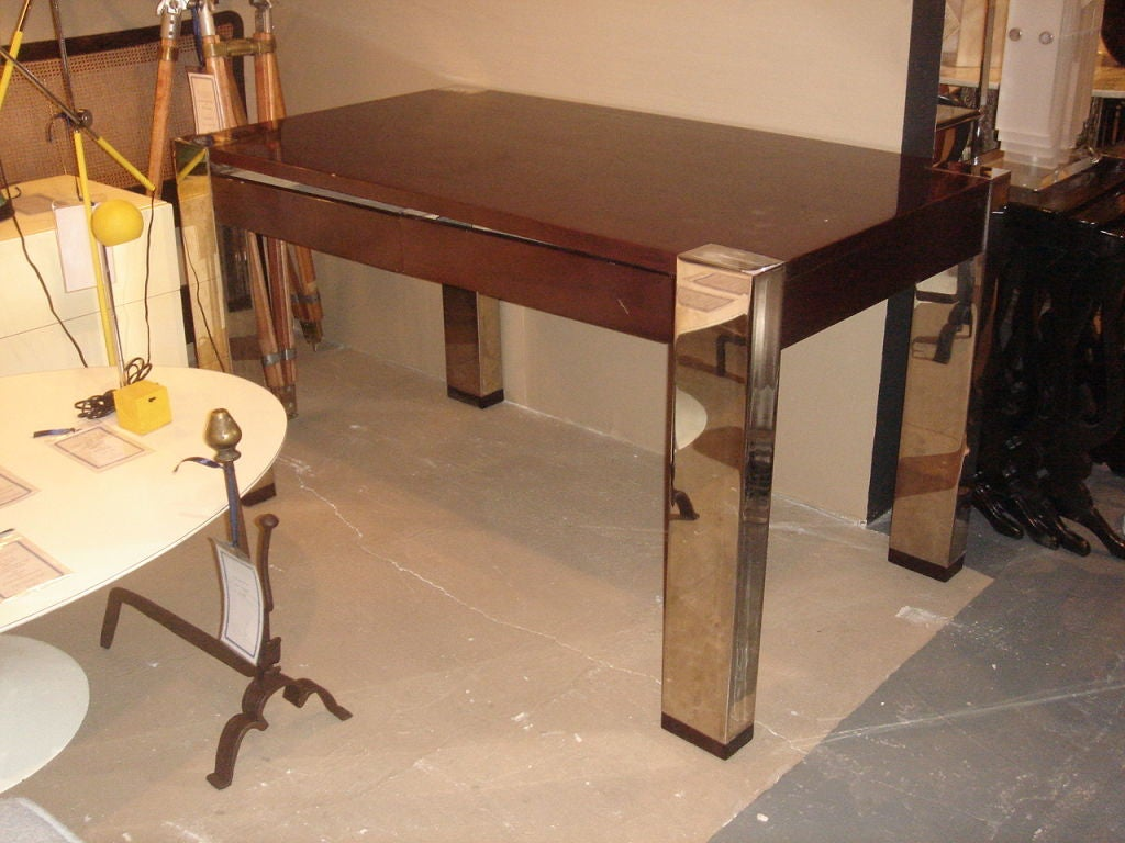 Mahogany And Chrome Desk By Thomas O 39 Brien For Hickory Chair At 1stdibs