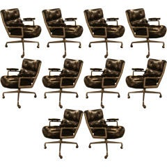 Set of 10 Time Life Desk Chairs by Herman Miller in Leather