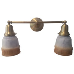 Brass Double Arm Wall Lamp with Vintage Amber Shades
