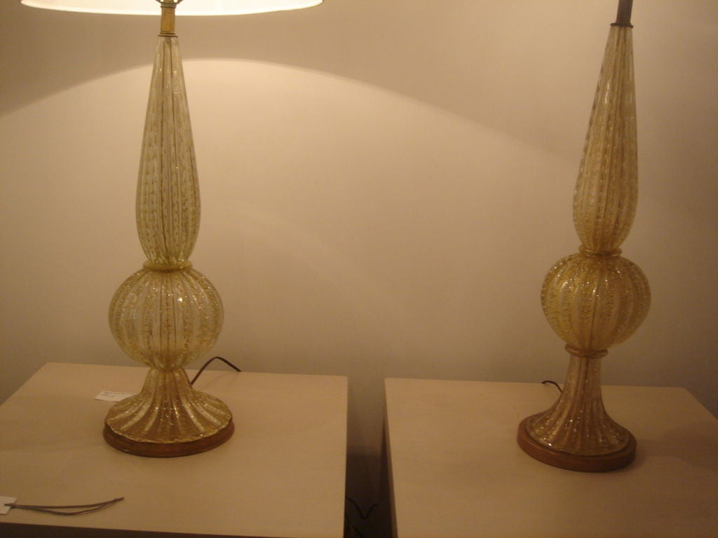 pair of murano glass table lamps by barovier and toso at. Black Bedroom Furniture Sets. Home Design Ideas