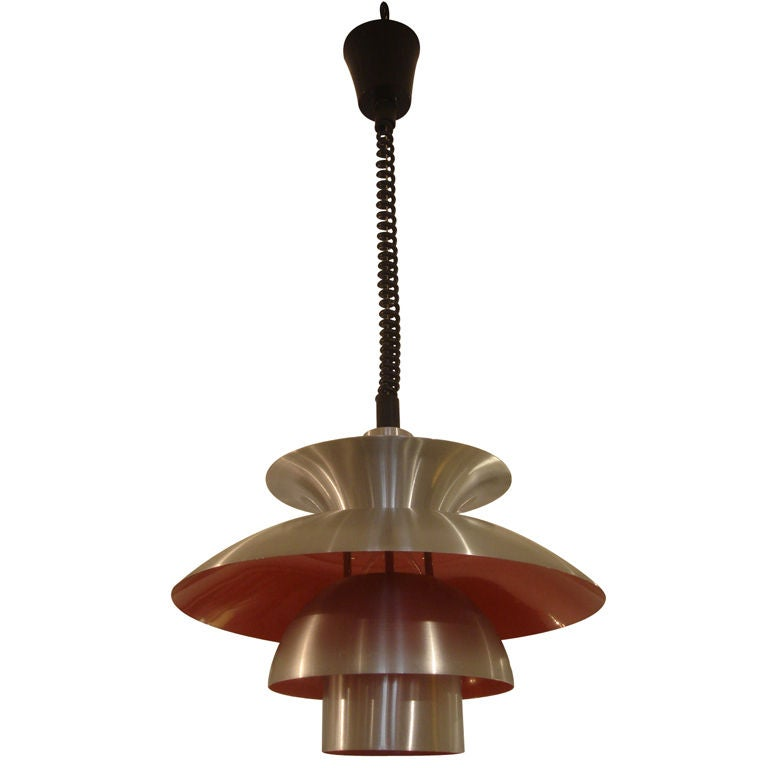Adjustable Height Spun Aluminum And Red Light Fixture By