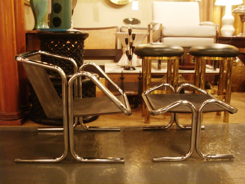 Tubular Chrome & Black Canvas Chair & Ottoman by Jerry Johnson image 2