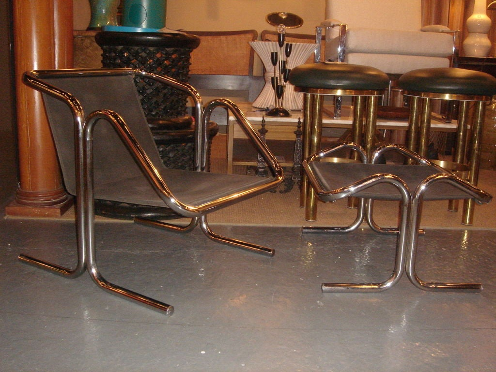 Tubular Chrome & Black Canvas Chair & Ottoman by Jerry Johnson image 4