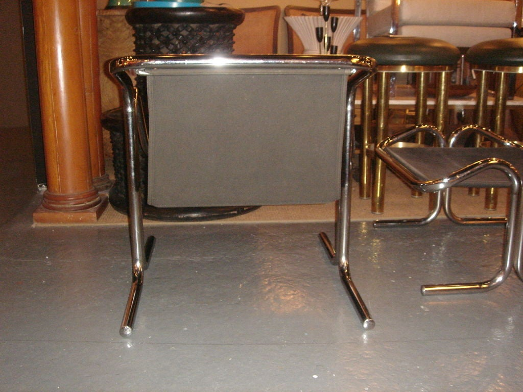 Tubular Chrome & Black Canvas Chair & Ottoman by Jerry Johnson image 7