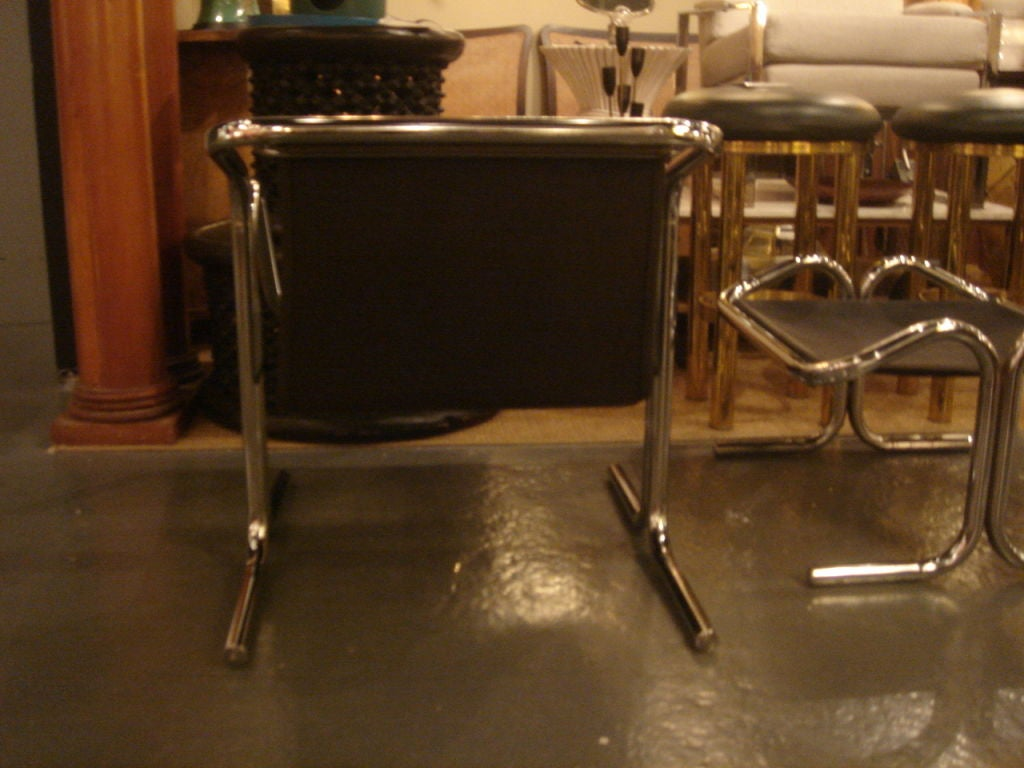 Tubular Chrome & Black Canvas Chair & Ottoman by Jerry Johnson image 8
