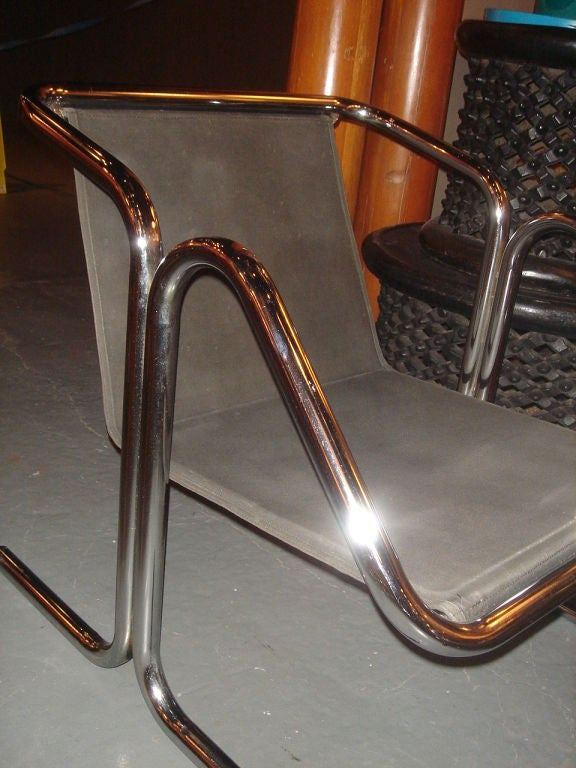 Tubular Chrome & Black Canvas Chair & Ottoman by Jerry Johnson image 9