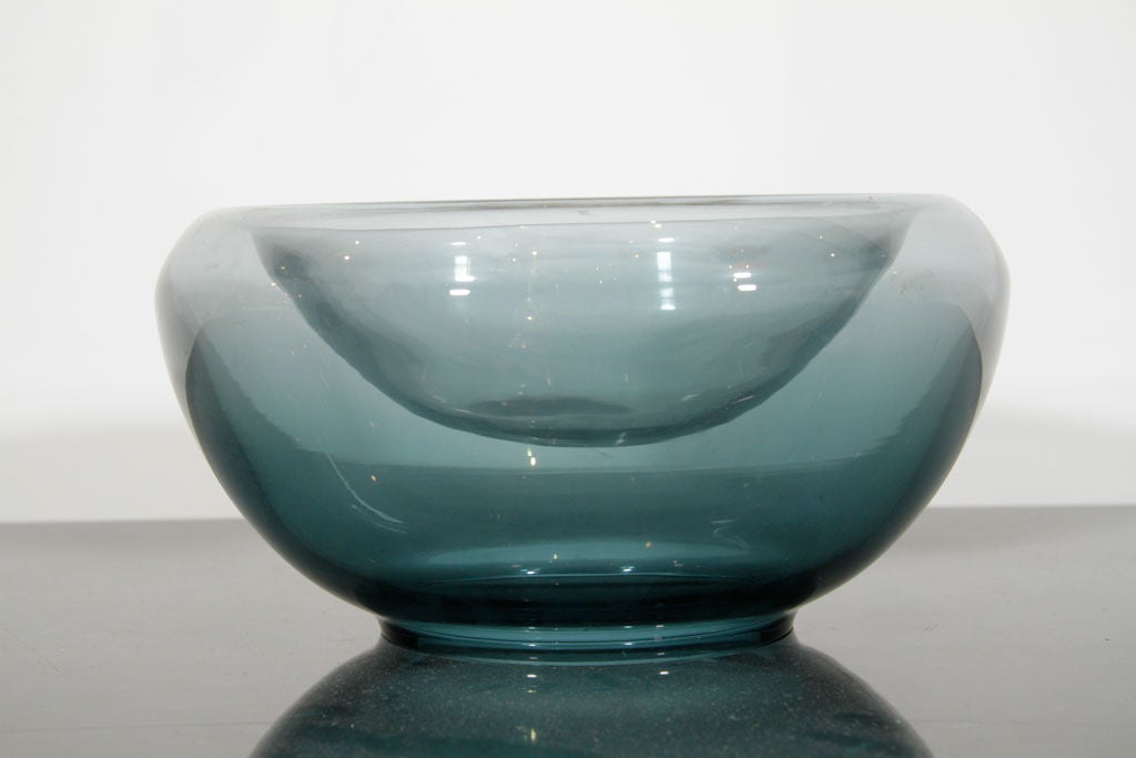 Blue glass centerpiece bowl by holmegaard at stdibs