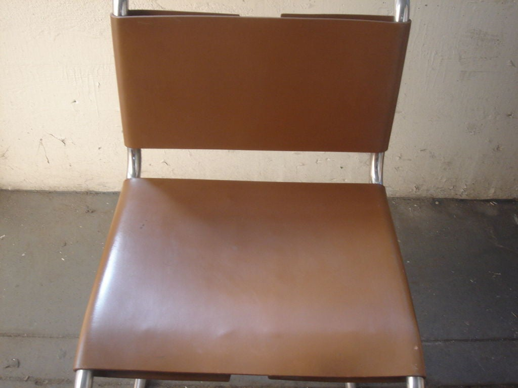 Leather Vintage 1970s Knoll MR Dining Chairs For Sale