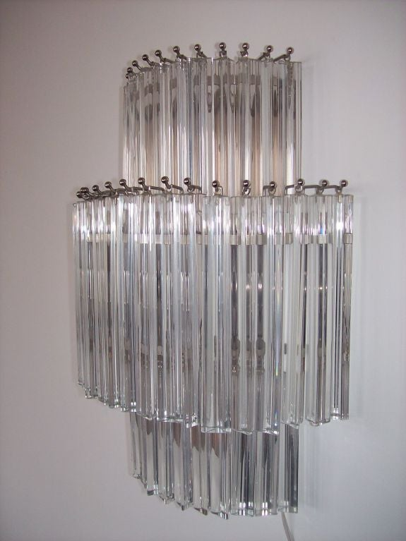 Set of 4 Monumental Crystal Prism Wall Sconces by Venini at 1stdibs