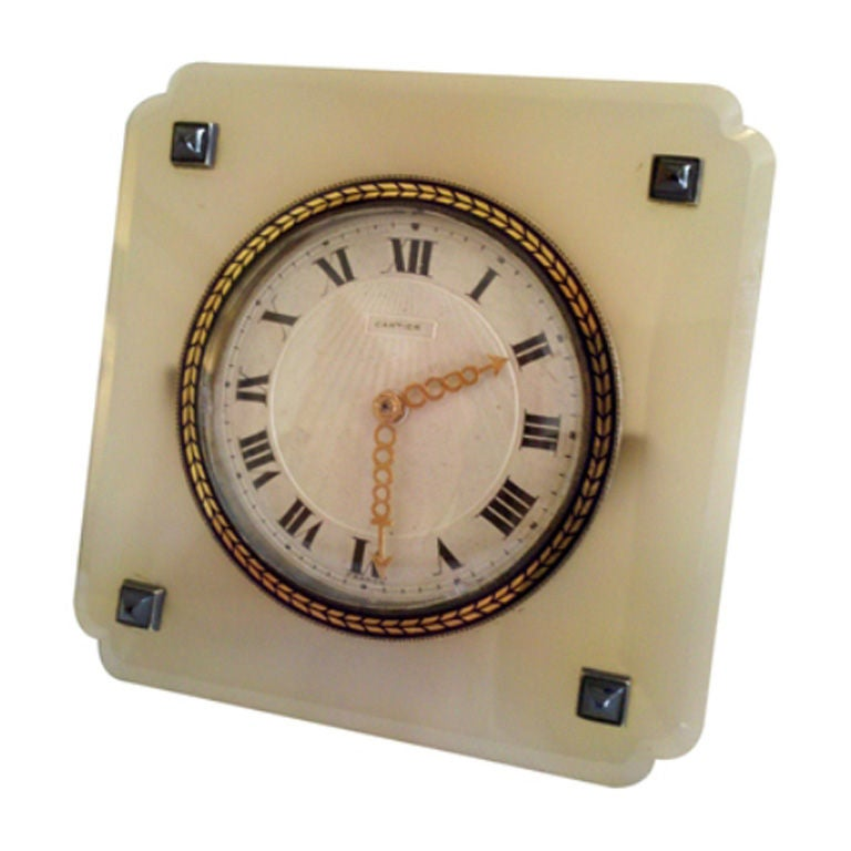 Vintage Agate And Blue Sapphire Clock By Cartier For Sale