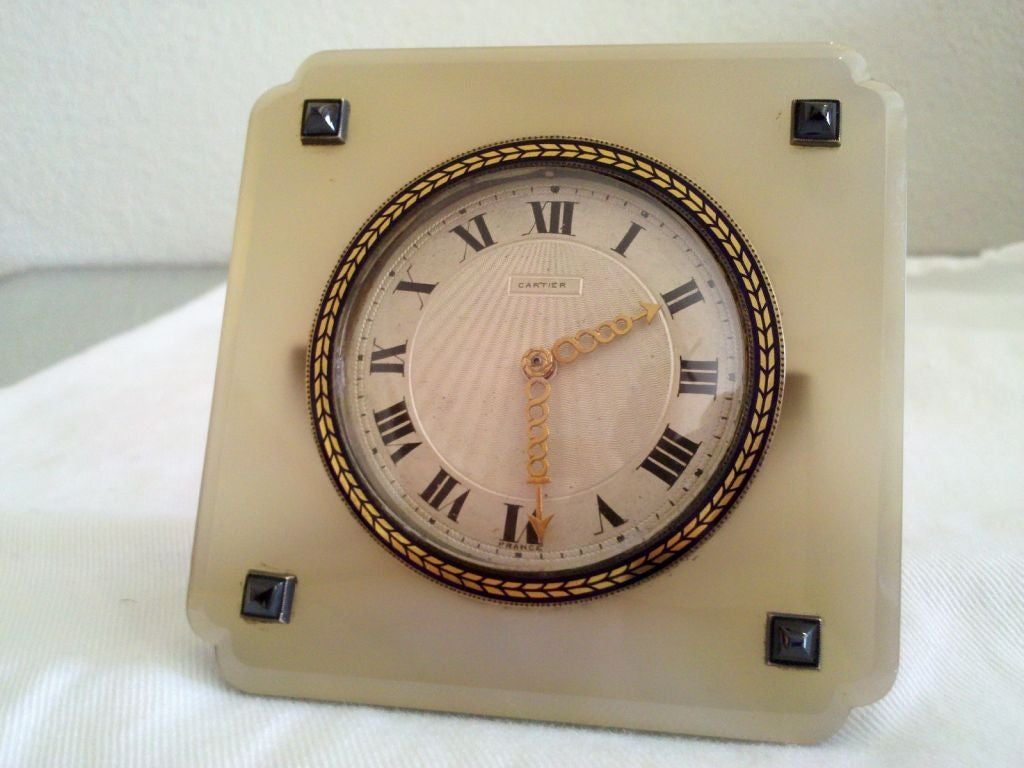 Vintage agate and blue sapphire clock by cartier for sale at 1stdibs vintage agate blue sapphire clock by cartier 2 amipublicfo Images