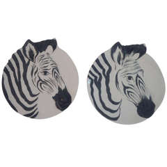 Pair of Zebra Plates for Bonwit Teller