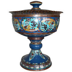 A Large 19th Century Cloisonne Footed Bowl with Lid