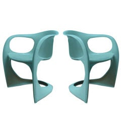 Pair of Off-White Dining Chairs by Alexander Begge for Casala