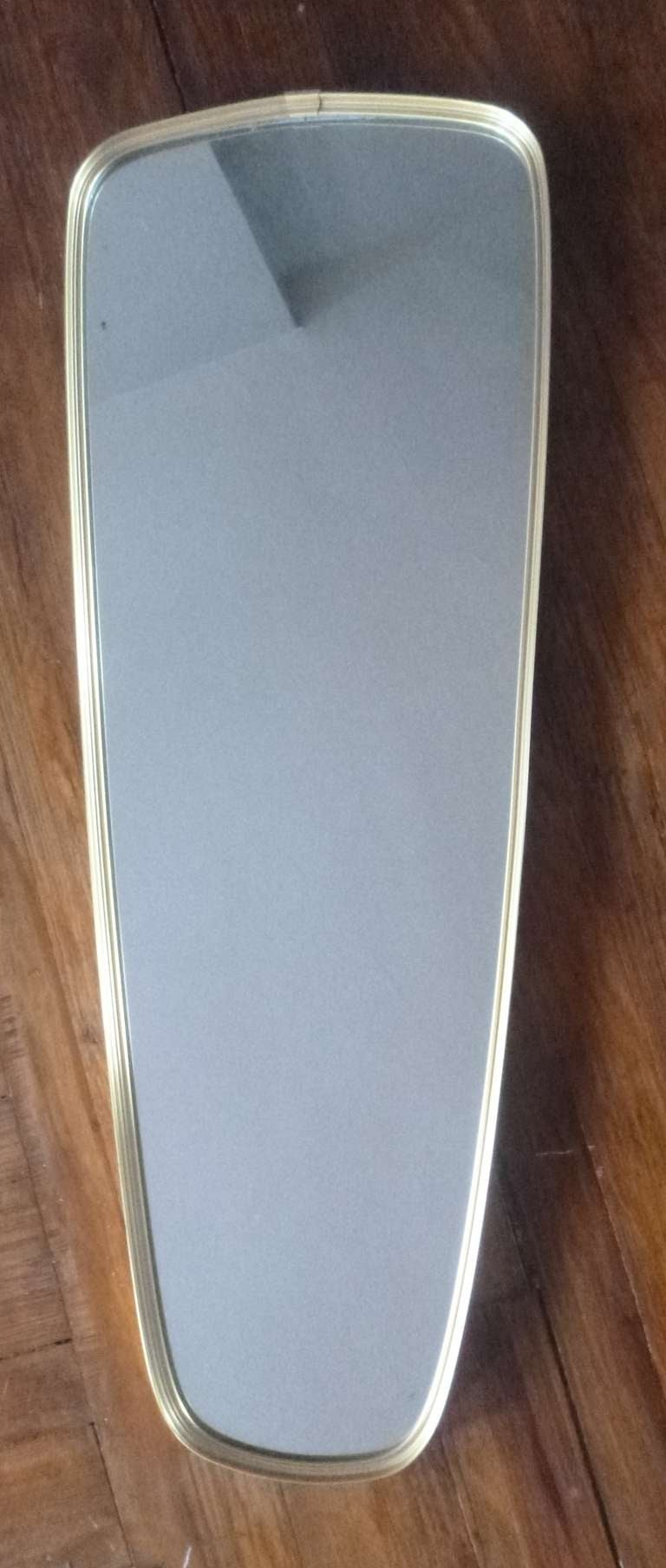 Brass Oblong Oval Wall Mirror For Sale At 1stdibs