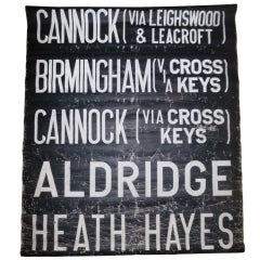 Black and White Vintage Bus Sign