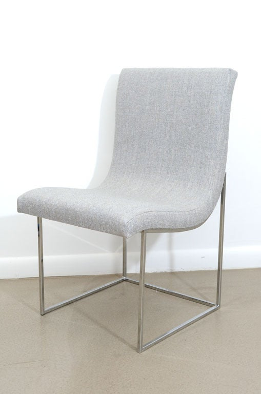 Milo Baughman Scoop Chrome Dining Chair In COM Image 4