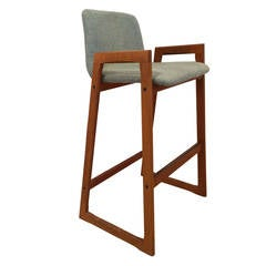 Vintage Danish Teak Bar Stool with Arms in COM (6 Available)