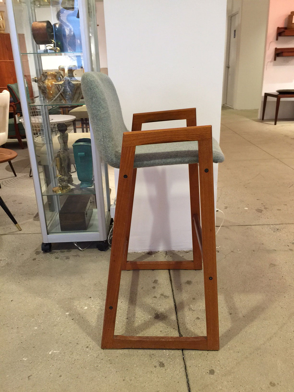 Mid-Century Modern Vintage Danish Teak Bar Stool with Arms in COM (6 Available) For Sale