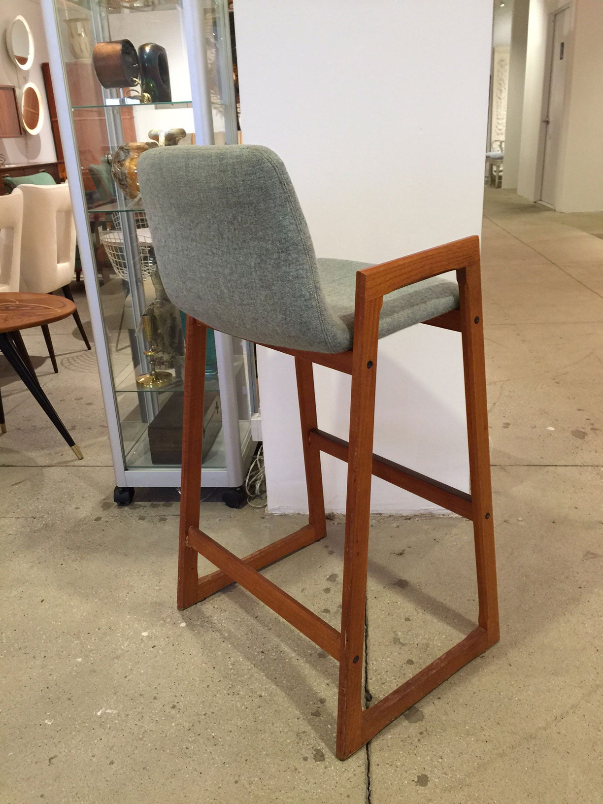 Vintage Danish Teak Bar Stool with Arms in COM (6 Available) In Excellent Condition For Sale In New York, NY